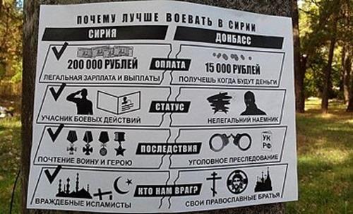 """В """"ДНР"""" расклеили листовки, призывающие воевать в Сирии"""