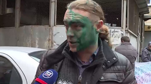 Игоря Мирошниченко у Печерского суда облили зеленкой
