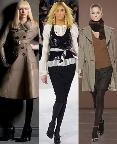 Сочетание женских босоножек с черными колготками
