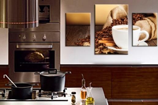 Модульная картина на кухне кофейного тона