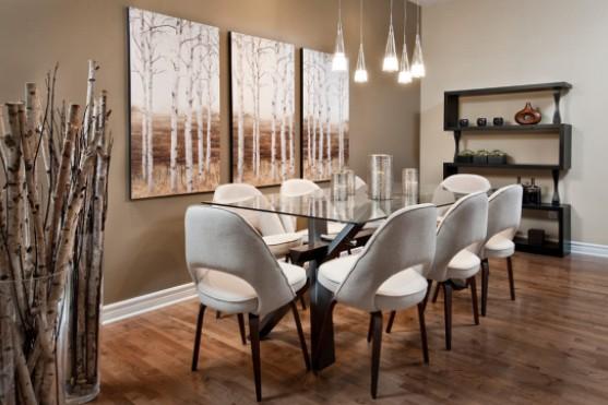 Модульная картина в гостиной с изображением берез