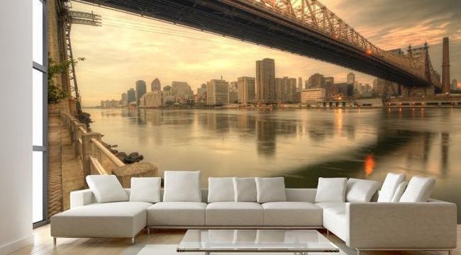 Фотообои в гостинной с изображением моста через реку